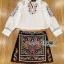 เสื้อผ้าเกาหลี พร้อมส่งเซ็ตเชิ้ตสีขาวและกระโปรงปักลายสไตล์ชนเผ่า thumbnail 10