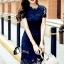 ชุดเดรสเกาหลี พร้อมส่งMini dress ลูกไม้แจนสั้นเนื้อถัก thumbnail 4