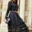 ชุดเดรสเกาหลี พร้อมส่งlong dress ผ้าซาตินด้านในอัดกาว thumbnail 1