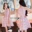 ชุดเดรสเกาหลี พร้อมส่งเดรสผ้าเครปสีชมพูปักผีเสื้อตกแต่งสร้อยคอมุก thumbnail 6