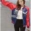 เสื้อผ้าเกาหลี พร้อมส่งบอมเบอร์แจ๊คเก็ตผ้าซาตินปักลายสีสดใส thumbnail 1