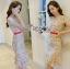 ชุดเดรสเกาหลีพร้อมส่ง เดรสผ้าเครปสีเบจปักลายดอกไม้สีสดใส thumbnail 5