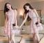 ชดเดรสเกาหลี พร้อมส่งเดรสผ้าเครปสีชมพูปักผีเสื้อตกแต่งสร้อยคอมุก thumbnail 8