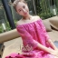 ชุดเดรสเกาหลี พร้อมส่ง มินิเดรสผ้าลูกไม้สีสดใส แพทเทิร์นทรงoversizedใส่ง่าย ใส่สบาย thumbnail 3