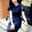 ชุดเดรสเกาหลี พร้อมส่งMini dress ลูกไม้แจนสั้นเนื้อถัก thumbnail 5