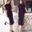 ชุดเดรสเกาหลี พร้อมส่งlong dressสีดำงานลูกไม้สีดำช่วงบน thumbnail 2