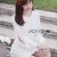 ชุดเดรสเกาหลี พร้อมส่งเดรสผ้าลูกไม้แขนชีฟองสีขาวสไตล์เฟมินีน thumbnail 1