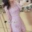 เสื้อผ้าเกาหลี พร้อมส่งShiny Lady PinkGold Leaf Lace Playsuit thumbnail 9