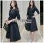 Katie Elegant Chic Minimal navy Blue Dress with Ribbon thumbnail 4