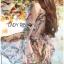 ชุดเดรสเกาหลี พร้อมส่งเดรสผ้าวิสโคสสีชมพูพิมพ์ลายธรรมชาติ thumbnail 2