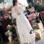 ชุดเดรสเกาหลี พร้อมส่งSummer Cross Back Luxury White Beach Dress thumbnail 4