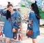 ชุดเดรสเกาหลี พร้อมส่งเดรสผ้าเดนิมบางปักลายดอกไม้สไตล์สาวคันทรี thumbnail 2