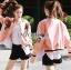 เสื้อผ้าเกาหลี พร้อมส่งบอมเบอร์แจ๊กเก็ตสีชมพูปักลายกุหลาบแดงสไตล์สปอร์ต thumbnail 7