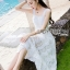 Tanya Summer Chic White Flower Embroidered and Tulle Dress thumbnail 6