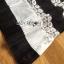 ชุดเดรสเกาหลี พร้อมส่งเดรสผ้าลูกไม้สีขาว-ดำลายขวางตกแต่งชายพลีต thumbnail 12