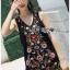 ชุดเดรสเกาหลีพร้อมส่ง เดรสแขนกุดผ้าคอตตอนสีดำปักลายดอกไม้ส thumbnail 7