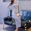ชุดเดรสเกาหลี พร้อมส่งชุดLong dress ลูกไม้สีเทาเรียบหรู thumbnail 1