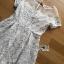 ชุดเดรสเกาหลี พร้อมส่งเดรสผ้าลูกไม้ตกแต่งผ้าออร์แกนซ่าสีขาวครีมสไตล์เฟมินีน thumbnail 14