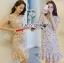 ชุดเดรสเกาหลีพร้อมส่ง เดรสผ้าเครปสีเบจปักลายดอกไม้สีสดใส thumbnail 4