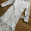 ชุดเดรสเกาหลี พร้อมส่งเดรสผ้าลูกไม้สีขาวตกแต่งระบายสุดหรู thumbnail 11