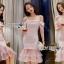 ชุดเดรสเกาหลี พร้อมส่งเดรสผ้าเครปสีชมพูทรงสายเดี่ยวเปิดไหล thumbnail 4