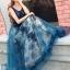 ชุดเดรสเกาหลี พร้อมส่งLong dress แขนกุดผ้ามุ้งสีกรม สองชั้น thumbnail 3