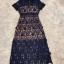 ชุดเดรสเกาหลี พร้อมส่งlong dress ฉลุสีกรม แขนสั้นซับในเย็บติดสีเนื้อช่วงอกยาวเหนือหัวเข่า thumbnail 13