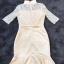ชุดเดรสเกาหลี พร้อมส่งMini dress สีครีม ช่วงเสื้อเป็นงานลูกไม้ thumbnail 9