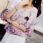 ( พร้อมส่งเสื้อผ้าเกาหลี) เสื้อเนื้อผ้าชีฟองสวยหวานด้วยงานพิมพ์ลายดอกไม้ เล่นลายผ้าเป็นลายเชิงที่ชายเสื้อและชายแขน โทนสีเก๋ด้วยโทนสีม่วง มาพร้อมกับกางเกงขาสั้น ลูกไม้มีดีเทลน่ารักๆ ที่ชายกางเกงเป็นฟรุ้งฟริ้ง น่ารักมากคะ thumbnail 3