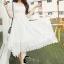 ชุดเดรสเกาหลี พร้อมส่งlong dress สีขาวยาว แขน 3 thumbnail 5