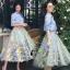 เสื้อผ้าเกาหลี พร้อมส่งAzura Skyblue Shirt + Embroidered Luxury Skirt thumbnail 8