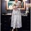 ชุดเดรสเกาหลี พร้อมส่งเดรสยาวผ้าชีฟองปักลายตกแต่งลูกไม้สีขาวทั้งตัว thumbnail 10