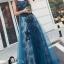 ชุดเดรสเกาหลี พร้อมส่งLong dress แขนกุดผ้ามุ้งสีกรม สองชั้น thumbnail 2