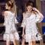 ชุดเดรสเกาหลีพร้อมส่ง เดรสสีขาวปักผีเสื้อ 3D เป็นแบบเว้าช่วงไหล่ thumbnail 3