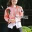 เสื้อผ้าเกาหลี พร้อมส่งบอมเบอร์แจ๊กเก็ตสีชมพูปักลายกุหลาบแดงสไตล์สปอร์ต thumbnail 1