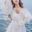 ชุเดรสเกาหลี พร้อมส่งBeach Angel Luxury White Lace Dress thumbnail 5