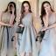 ชุดเดรสเกาหลีพร้อมส่ง Grey Princess Luxury 3D Floral Dress thumbnail 1