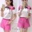 เสื้อผ้าเกาหลี พร้อมส่งเสื้อ+คู่กับกางเกงขาสั้นสีชมพูบานเย็นโดดเด่น thumbnail 2