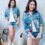 เสื้อผ้าเกาหลี พร้อมส่ง3D Butterfly Denim Jacket thumbnail 3