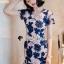 เสื้อผ้าเกาหลี พร้อมส่งPinkyPeach Dress Navy Flora thumbnail 9