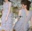 ชุดเดรสเกาหลี พร้อมส่งเดรสผ้าลูกไม้สีม่วงไลแล็คสไตล์แบรนด์ thumbnail 5