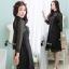 ชุดเดรสเกาหลี พร้อมส่ง Black Angelina Lace Long Shirt Dress thumbnail 7