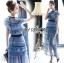 ชุดเดรสเกาหลี พร้อมส่งเดรสผ้าลูกไม้สีฟ้าตกแต่งโบสไตล์ Self-Portrait thumbnail 5