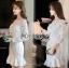 ชุดเดรสเกาหลี พร้อมส่งเดรสผ้าลูกไม้สีขาวสไตล์วินเทจ thumbnail 7