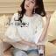 เสื้อผ้าเกาหลี พร้อมส่งเสื้อผ้าคอตตอนทับด้วยผ้าตาข่ายปักดอกไม้สีขาว thumbnail 1