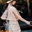 เสื้อผ้าแฟชั่นเกาหลีพร้อมส่ง Lovely Gold Blossom Lace Pleaty JumpSet thumbnail 6