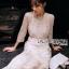 ชุดเดรสเกาหลี พร้อมส่งเดรสผ้าทูลล์ปักลายดอกไม้สีทองสง่าพร้อมสร้อยคอมุก thumbnail 7