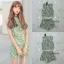 เสื้อผ้าแฟชั่นเกาหลี พร้อมส่งset เสื้อ+กางเกงลายใบไม้สีเขียวอ่อน thumbnail 7