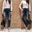 เสื้อผ้าเกาหลี พร้อมส่งกางเกงยีนส์CC DOUBLE O ดีไซล์ทรงเอวสูง thumbnail 2