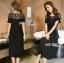Diana Vintage Feminine Black Lace Pleated Dress thumbnail 4